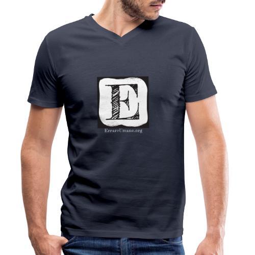 Logo ErrareUmano con scritta bianca - T-shirt ecologica da uomo con scollo a V di Stanley & Stella