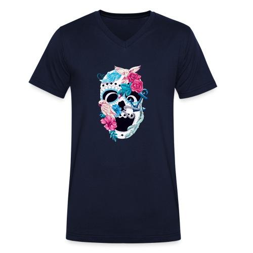 Floral Skull - Männer Bio-T-Shirt mit V-Ausschnitt von Stanley & Stella