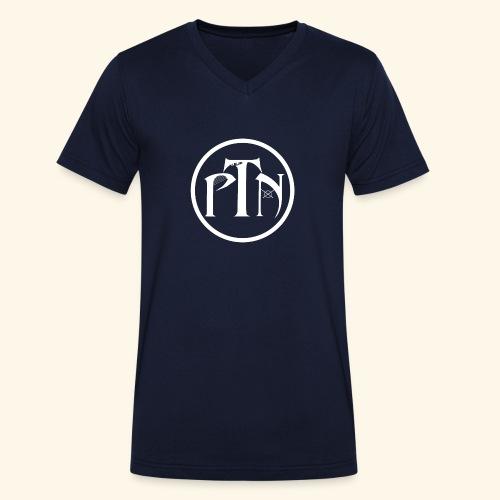 PTN-Music Logo Weiss - Männer Bio-T-Shirt mit V-Ausschnitt von Stanley & Stella