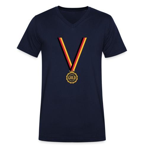 Goldmedaille Deutschland - Männer Bio-T-Shirt mit V-Ausschnitt von Stanley & Stella