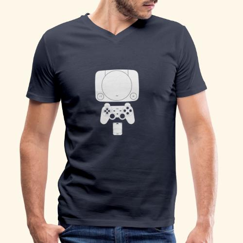 PS ONE Classic Console Design - Men's Organic V-Neck T-Shirt by Stanley & Stella