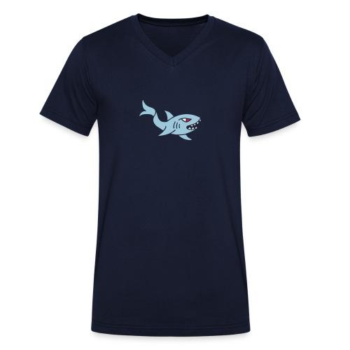 hai shark hungrig hungry fisch white weiß comic - Männer Bio-T-Shirt mit V-Ausschnitt von Stanley & Stella