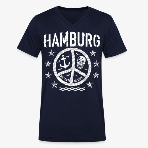 105 Hamburg Peace Anker Seil Koordinaten - Männer Bio-T-Shirt mit V-Ausschnitt von Stanley & Stella