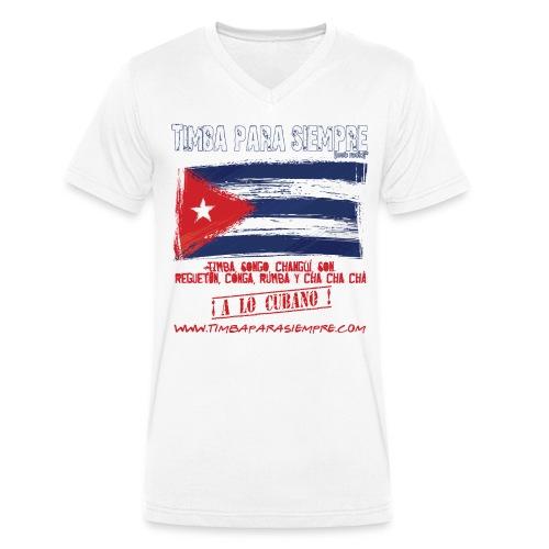 logo front white final3 png - Men's Organic V-Neck T-Shirt by Stanley & Stella