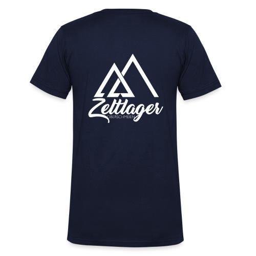 Zeltlager Logo hinten weiß Edition - Männer Bio-T-Shirt mit V-Ausschnitt von Stanley & Stella