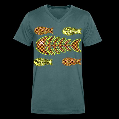 döda fiskar - ben i orange och gult - Ekologisk T-shirt med V-ringning herr från Stanley & Stella