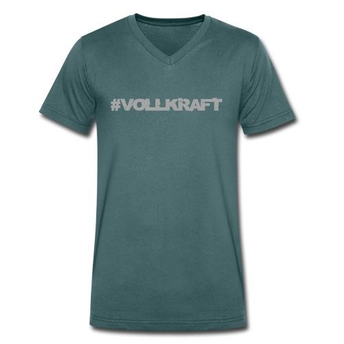 Vollkraft Schriftzug grau - Männer Bio-T-Shirt mit V-Ausschnitt von Stanley & Stella