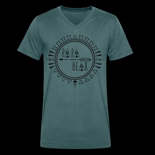 Papa Bear - Männer Bio-T-Shirt mit V-Ausschnitt von Stanley & Stella
