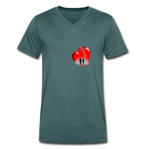 t shirt coeur rouge coup de foudre eclairs - T-shirt bio col V Stanley & Stella Homme