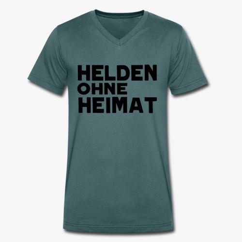 Helden Ohne Heimat Schriftzug Schwarz - Männer Bio-T-Shirt mit V-Ausschnitt von Stanley & Stella