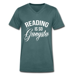Reading is so Gangsta - Mannen bio T-shirt met V-hals van Stanley & Stella
