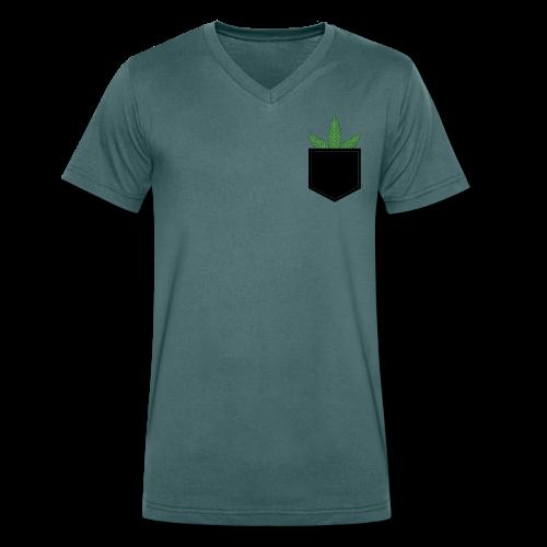 Brusttasche mit Marihuana / Cannabisblatt - Männer Bio-T-Shirt mit V-Ausschnitt von Stanley & Stella