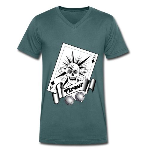 t shirt petanque tireur crane carreau boules - T-shirt bio col V Stanley & Stella Homme