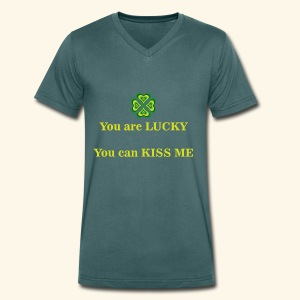 Funny St Patrick's day design - Men's Organic V-Neck T-Shirt by Stanley & Stella