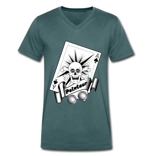 t shirt petanque pointeur crane rieur boules - T-shirt bio col V Stanley & Stella Homme