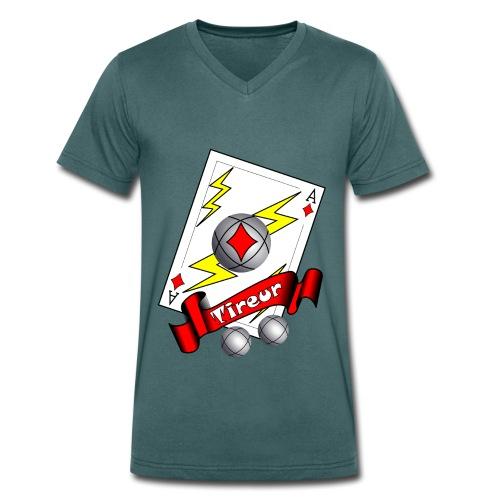 t shirt petanque tireur as du carreau boules - T-shirt bio col V Stanley & Stella Homme