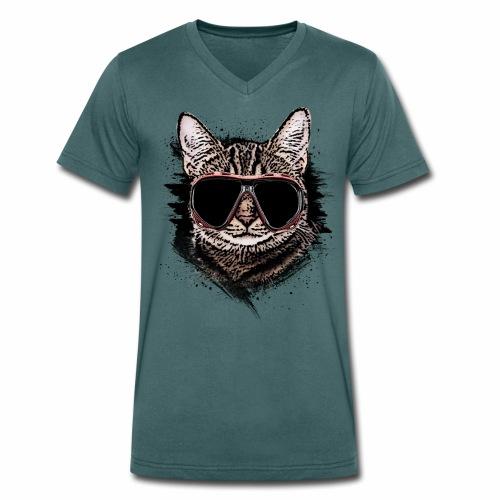 Krasse Taucher-Katze - Männer Bio-T-Shirt mit V-Ausschnitt von Stanley & Stella