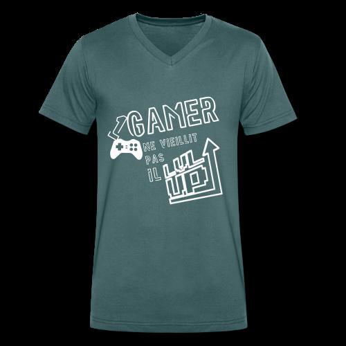 Gameur Manette Blanc - T-shirt bio col V Stanley & Stella Homme