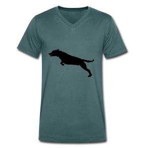 Jumping Dog Silhouette - Mannen bio T-shirt met V-hals van Stanley & Stella