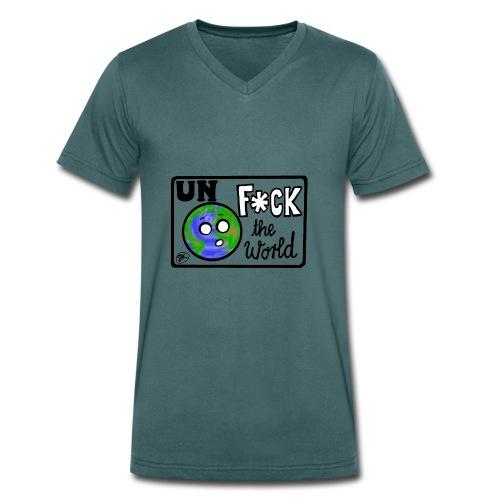 UNF*CK the World - Männer Bio-T-Shirt mit V-Ausschnitt von Stanley & Stella