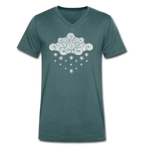 nuage blanc et flocons vacances d'hiver - T-shirt bio col V Stanley & Stella Homme