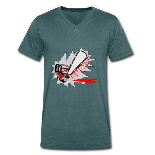 T shirt humeur tronçonneuse en sang votre texte FS - T-shirt bio col V Stanley & Stella Homme
