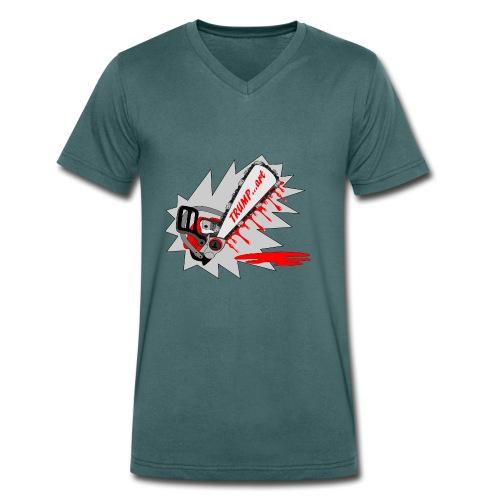 t shirt trump ...art la politique tronconneuse - T-shirt bio col V Stanley & Stella Homme