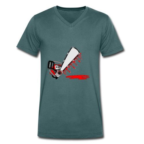 T shirt humeur tronçonneuse en sang votre texte FC - T-shirt bio col V Stanley & Stella Homme