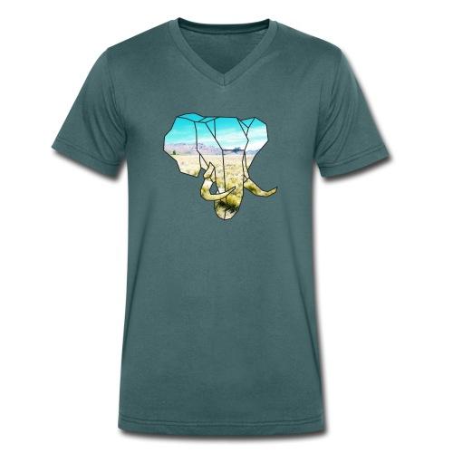 Elefant mit Steppe - Männer Bio-T-Shirt mit V-Ausschnitt von Stanley & Stella