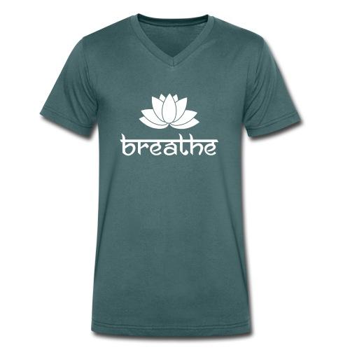 Yoga Meditation Mindfulness T-Shirt Breathe - Männer Bio-T-Shirt mit V-Ausschnitt von Stanley & Stella