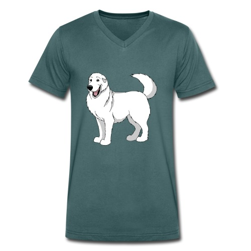Loveable Pyrenean Mountain Dog - Men's Organic V-Neck T-Shirt by Stanley & Stella
