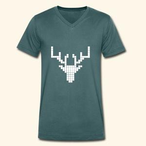 PIXELHIRSCH - only - Männer Bio-T-Shirt mit V-Ausschnitt von Stanley & Stella