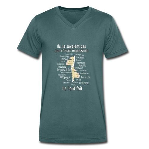 Impossible et fait Hommes mains Fond Sombre - T-shirt bio col V Stanley & Stella Homme