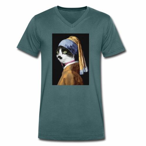 Micia Old Painting - T-shirt ecologica da uomo con scollo a V di Stanley & Stella