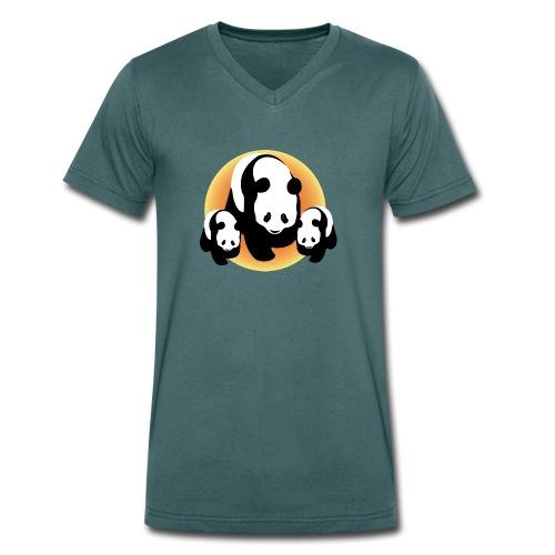 Chineese Panda's - Mannen bio T-shirt met V-hals van Stanley & Stella