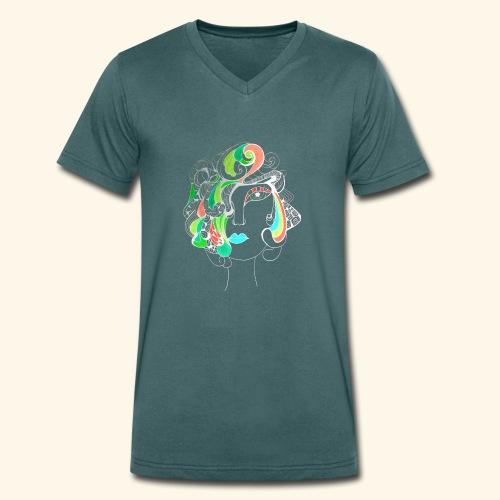 Damą być ! Negatyw - Ekologiczna koszulka męska z dekoltem w serek Stanley & Stella