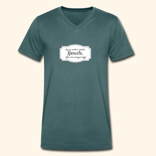 Verdens sødeste kæreste - Økologisk Stanley & Stella T-shirt med V-udskæring til herrer