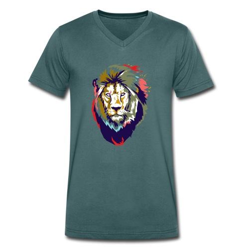 Farbiger Löwe - Männer Bio-T-Shirt mit V-Ausschnitt von Stanley & Stella