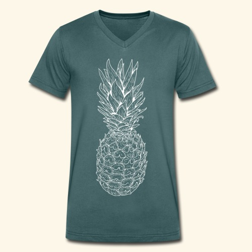 Ananas weiß - Männer Bio-T-Shirt mit V-Ausschnitt von Stanley & Stella