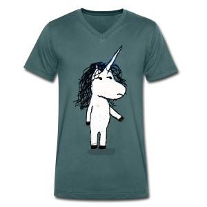 Angry unicorn - Men's Organic V-Neck T-Shirt by Stanley & Stella
