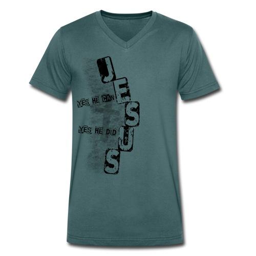 Jesus yes he can schwarz - Männer Bio-T-Shirt mit V-Ausschnitt von Stanley & Stella
