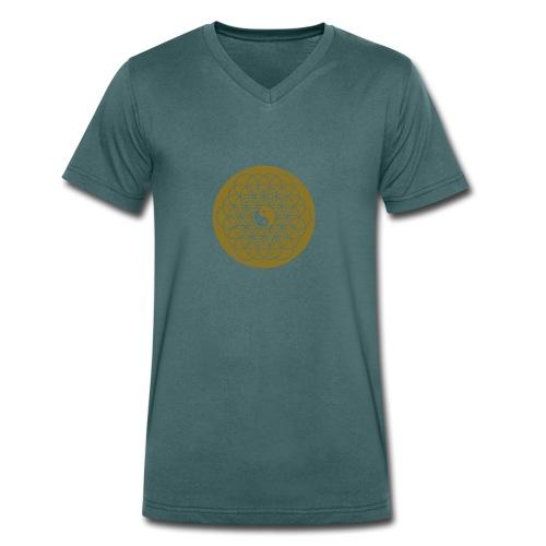 Spiritualität - Lebensblume mit Yin Yang - Männer Bio-T-Shirt mit V-Ausschnitt von Stanley & Stella