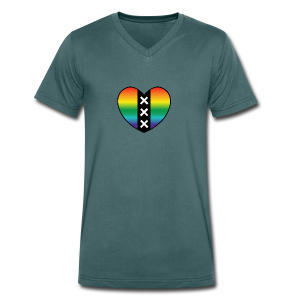 Hart Amsterdam in regenboog kleuren - Mannen bio T-shirt met V-hals van Stanley & Stella