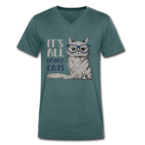 Coole Katze: It's All About Cats - Männer Bio-T-Shirt mit V-Ausschnitt von Stanley & Stella