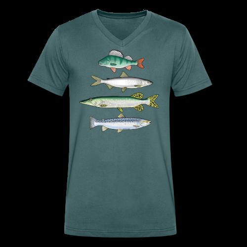 10-34 FOUR FISH - Ahven, siika, hauki ja taimen - Stanley & Stellan naisten luomupikeepaita
