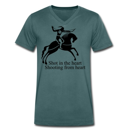 Shot in the Heart - Men's Organic V-Neck T-Shirt by Stanley & Stella