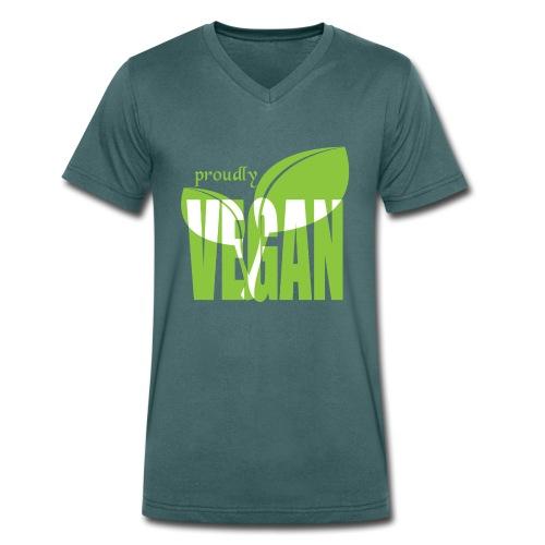 proudly vegan - Männer Bio-T-Shirt mit V-Ausschnitt von Stanley & Stella