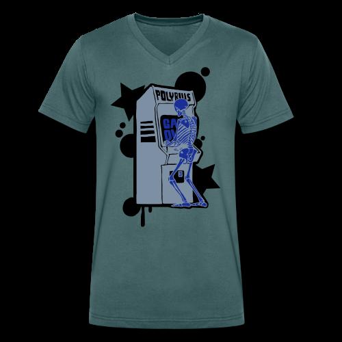 Hi-Score Silver X-ray - Ekologiczna koszulka męska z dekoltem w serek Stanley & Stella