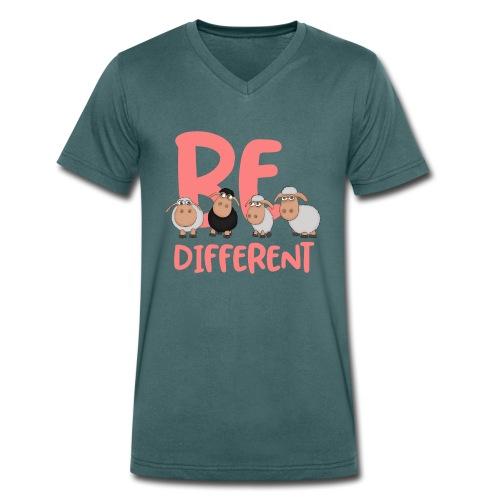 Be different pinke Schafe - Einzigartige Schafe - Männer Bio-T-Shirt mit V-Ausschnitt von Stanley & Stella