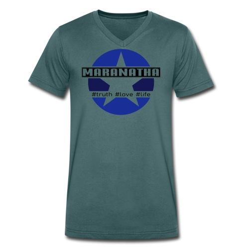 maranatha blau-braun - Männer Bio-T-Shirt mit V-Ausschnitt von Stanley & Stella